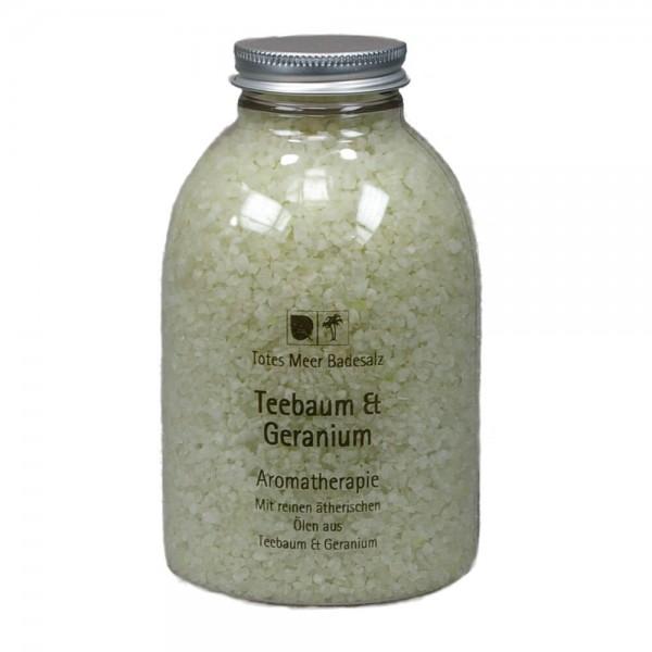 Badesalz Aromatherapie - Teebaum & Geranium (630 g)