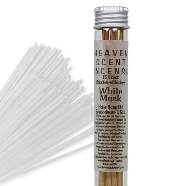Räucherstäbchen in Glasröhrchen - White Musk, 15 Stück